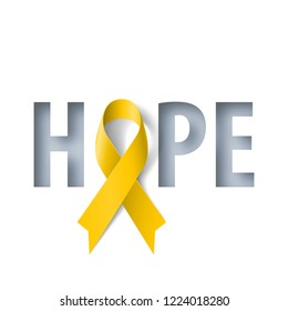 Banner with Hope Lettering and Symbol of Sarcoma Cancer Awareness Realistic Yellow Ribbon. Design Template for Info-graphics or Websites Magazines on Yellow Background