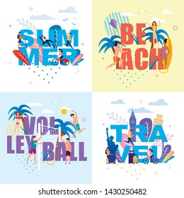 Banner with Huge Letters Set in Summertime Theme. Words Summer, Beach, Volleyball, Travel with Small People Characters Enjoying Vacation, Rest and Traveling. Vector Tropical Flat Illustration