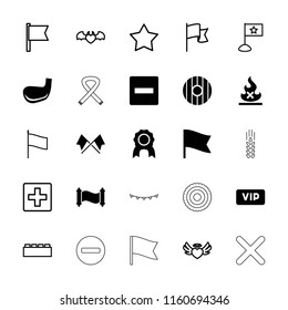 Banner icon. collection of 25 banner filled and outline icons such as minus, medal, golf stick, shield, manuscript, star, plus. editable banner icons for web and mobile.