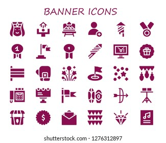 banner icon set. 30 filled banner icons. Simple modern icons about  - Armenian, Motivation, Artboard, Add, Fireworks, Medal, Quality, Flag, Badge, Display, Sticker, Flags, Boxing gloves