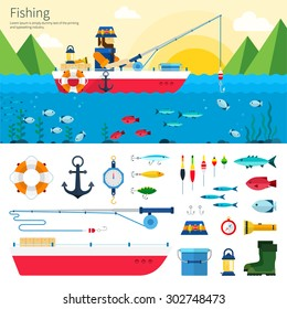 Banner and Icon set. Fisherman with fishing rod is fishing on boat. Items fishing hook, tackle, bait, reel, anchor, bucket, flashlight. Flat design cartoon style for web, analytics, graphic design