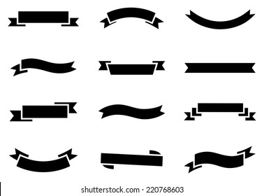 Banner Icons - A set of 12 vector banners isolated on a white background.  Fill and stroke colors are global, so they can be changed easily.  Each icon is grouped separately for easy editing.