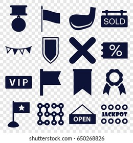 Banner icons set. set of 16 banner filled icons such as vip, jackpot, cancel, party flag, ribbon, sold tag, golf stick, flag, open plate, electric circuit, shield, medal
