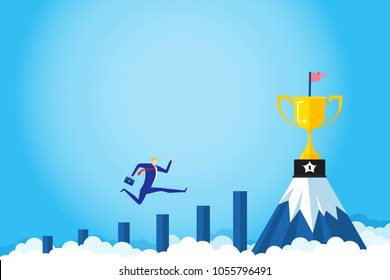 Banner ideas startup business to success. Businessman jumping on the graph to goal.Trophies on mountain.Concept of creating business for success.Award,Champion,Goal.vector illustration.
