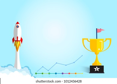 Banner ideas startup business to success.Rocket ship flying and revenue graph and trophies with copy space.Concept of creating business for success.Award,Champion.Profit.vector illustration