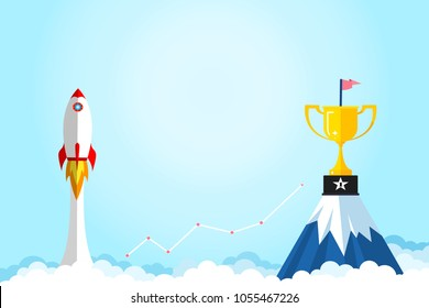 Banner ideas startup business to success.Rocket ship flying and graph and trophies on mountain.Concept of creating business for success.Award,Champion,Profit,Goal.vector illustration.