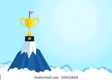 Banner ideas startup business to success.Trophies are placed on the mountain on light blue background with copy space.Success after hard work.Goals.Award.Successful.vector illustration.