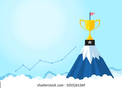 Banner ideas startup business to success.Trophies are placed on the mountain with graph on light blue background.Success after hard work.Goals.Award.Successful.Finance.vector illustration.