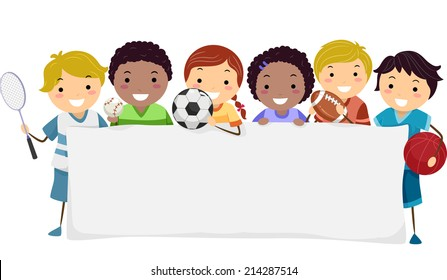 Banner Illustration Featuring Kids Wearing Different Sports Attires