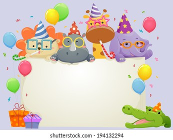 Banner Illustration Featuring Safari Animals Wearing Party Hats