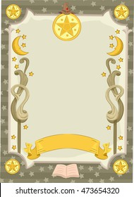 Banner Illustration Featuring a Tarot Card Decorated with Moons and Stars