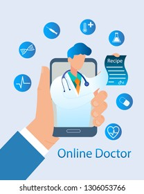 Banner Illustration Man Hand Holding Mobile Phone. Vector Image Communication Online Doctor. Pediatrician from Screen Monitor Device Writes Recipe Treatment Disease. Pill, Syringe, Dna, Pulse, Heart