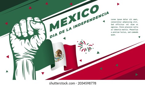 Banner illustration of Mexico independence day celebration. Translation: September 16, Long live Mexico, Independence Day! Waving flag and hands clenched. Vector illustration.