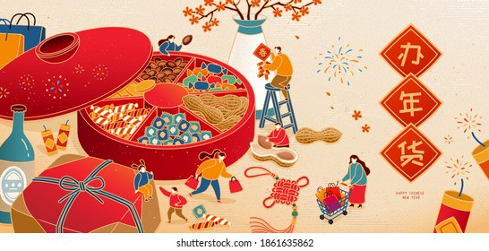 Banner illustration of miniature Asian people purchasing food and goods for Spring Festival, Translation: Chinese new year shopping