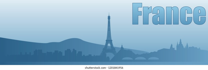 banner with the image of the sights of France in blue tones