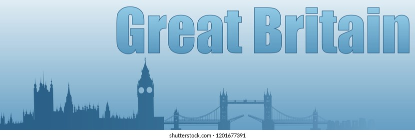 banner with the image of the sights of Great Britain in blue tones