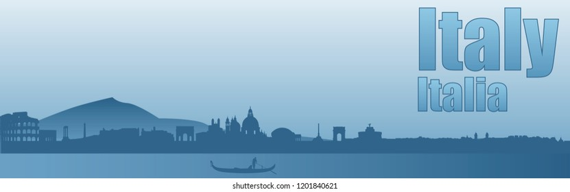 banner with the image of the sights of Italy in blue tones