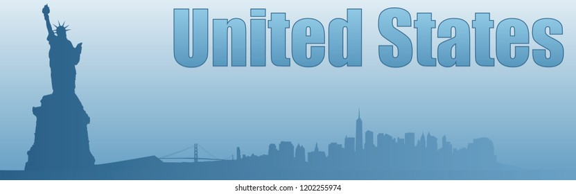 banner with the image of the sights of the United States in blue tones background