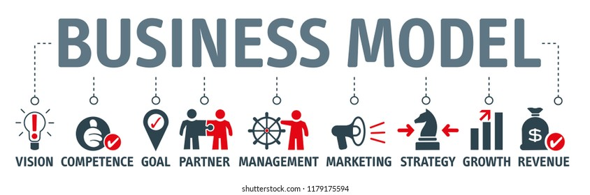 Banner and info graphic business model vector illustration concept with keywords and icons
