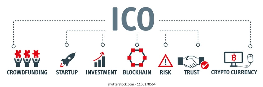 Banner Initial Coin Offering. Startup, Blockchain diagram, cryptocurrency, crowdfunding, Trust, Investment and Risk. vector illustration concept