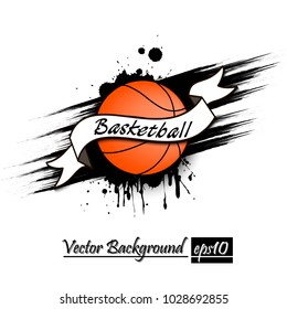 Banner the inscription basketball on the background abstract basketball ball from blots. Grunge style. Vector illustration