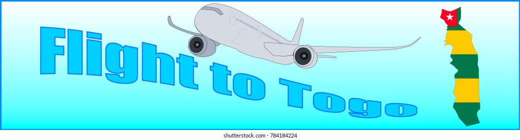 Banner with the inscription Flight to Togo on a blue background