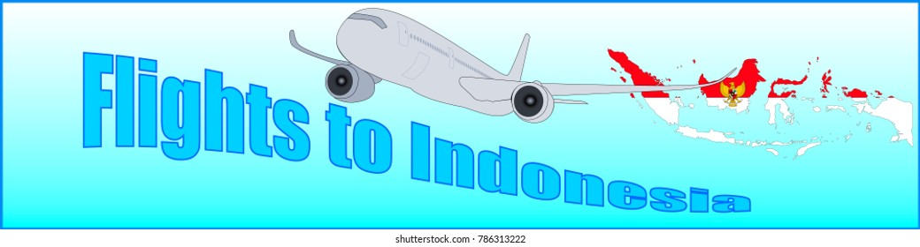 Banner with the inscription Flights to Indonesia on a blue background