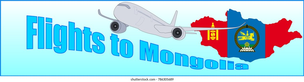 Banner with the inscription Flights to Mongolia on a blue background