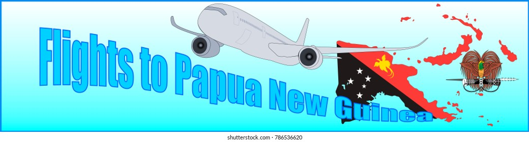 Banner with the inscription Flights to Papua New Guinea on a blue background