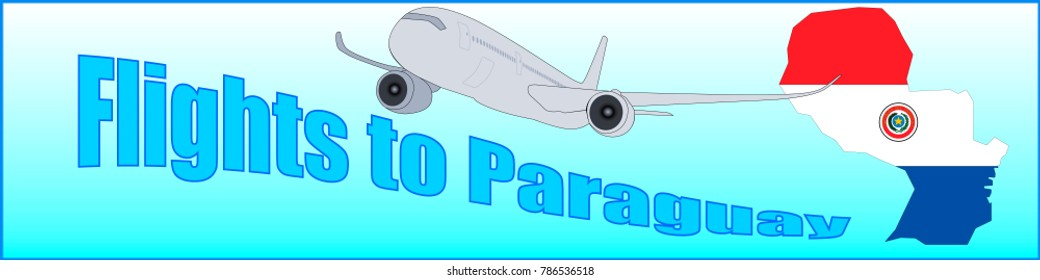 Banner with the inscription Flights to Paraguay on a blue background