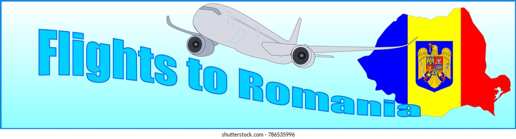 Banner with the inscription Flights to Romania on a blue background