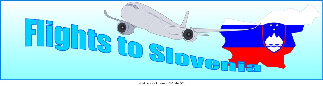 Banner with the inscription Flights to Slovenia on a blue background
