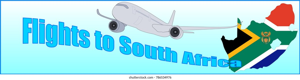 Banner with the inscription Flights to South Africa on a blue background