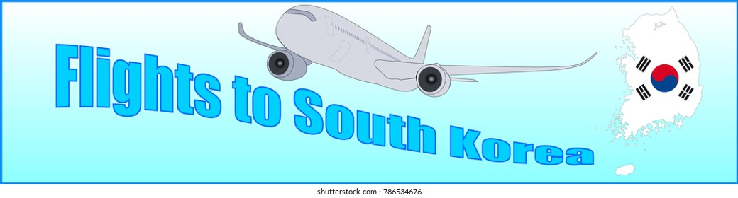 Banner with the inscription Flights to South Korea on a blue background