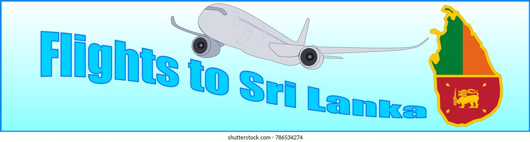 Banner with the inscription Flights to Sri Lanka on a blue background