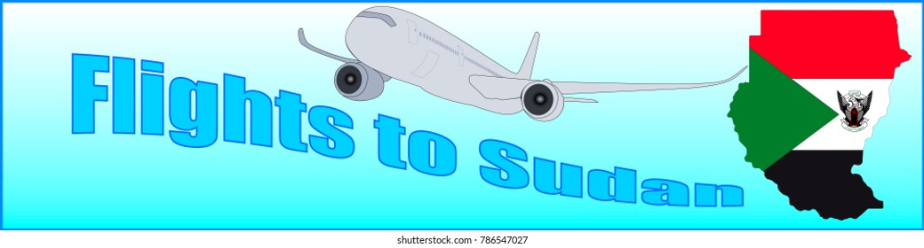 Banner with the inscription Flights to Sudan on a blue background