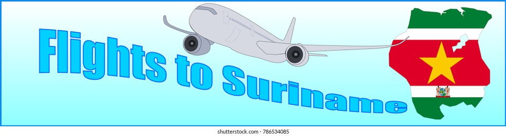Banner with the inscription Flights to Suriname on a blue background