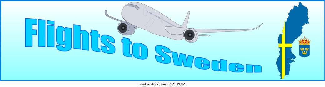 Banner with the inscription Flights to Sweden on a blue background