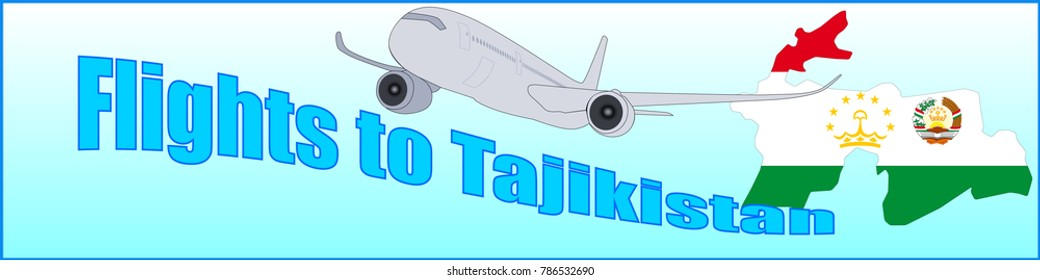 Banner with the inscription Flights to Tajikistan on a blue background