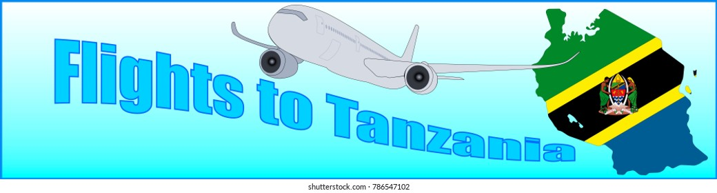 Banner with the inscription Flights to Tanzania on a blue background