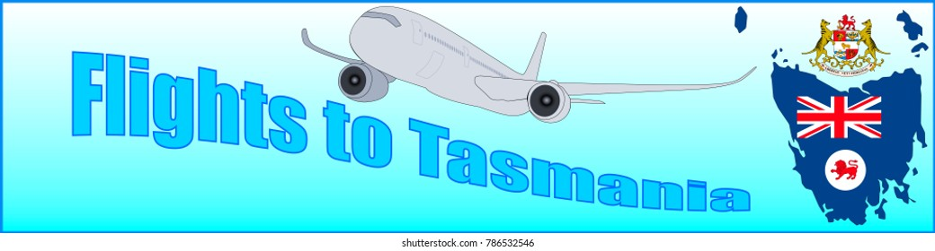 Banner with the inscription Flights to Tasmania on a blue background