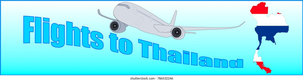 Banner with the inscription Flights to Thailand on a blue background