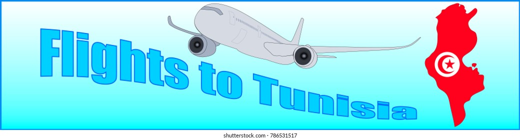 Banner with the inscription Flights to Tunisia on a blue background