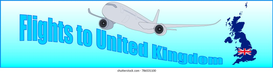 Banner with the inscription Flights to United Kingdom on a blue background