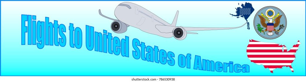 Banner with the inscription Flights to United States of America on a blue background