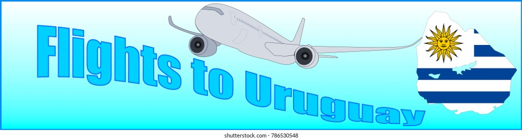 Banner with the inscription Flights to Uruguay on a blue background