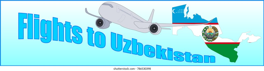 Banner with the inscription Flights to Uzbekistan on a blue background