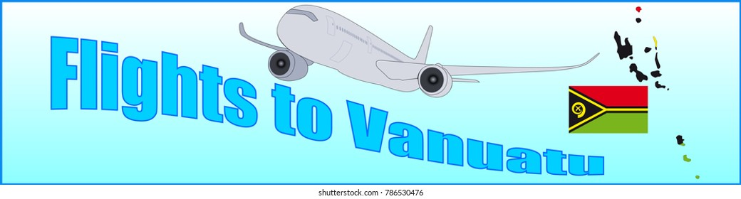 Banner with the inscription Flights to Vanuatu on a blue background