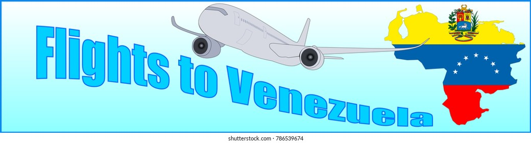 Banner with the inscription Flights to Venezuela on a blue background