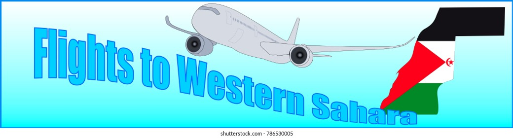 Banner with the inscription Flights to Western Sahara on a blue background